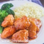 Plate of baked sweet and sour chicken