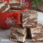 pieces of triple chocolate fudge