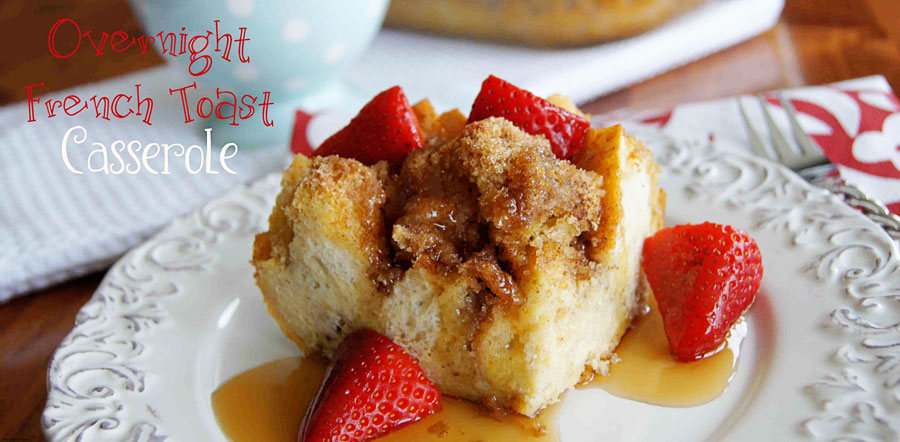 A plate of Overnight French Toast Casserole