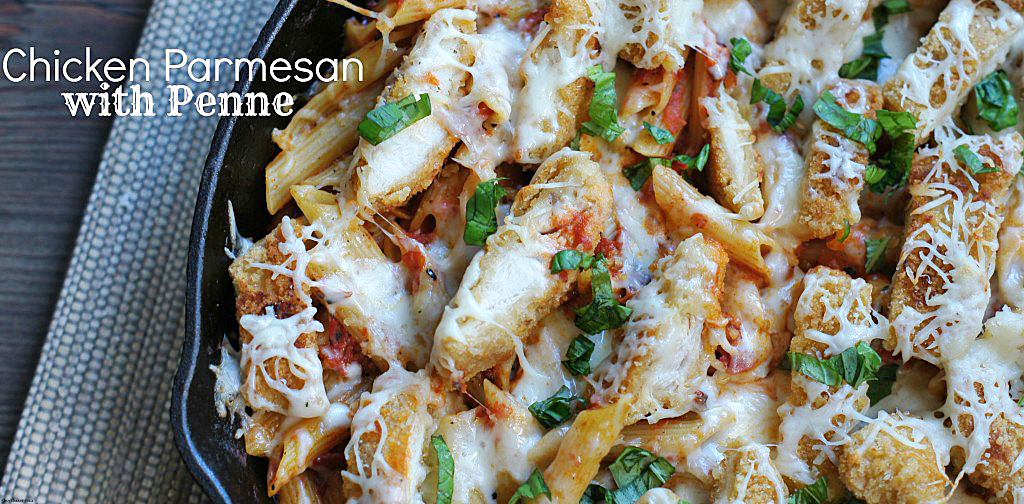 pan of chicken parmesan with Penne