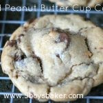salted peanut butter cup cookie on a cooling rack