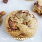 overhead shot of Take 5 Caramel Chocolate Chip Cookies