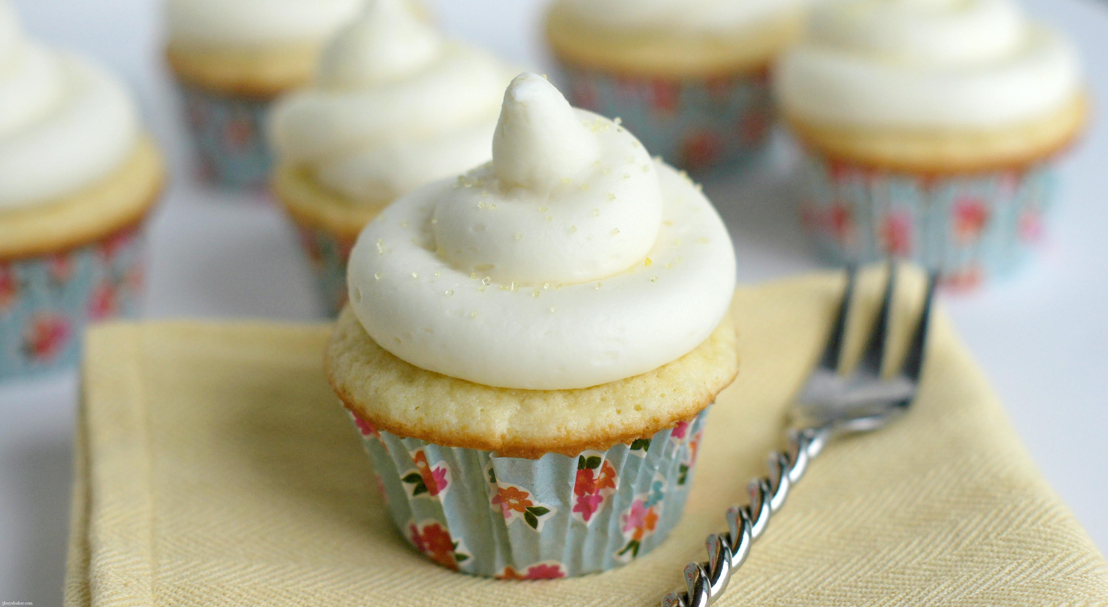 Coconut Cupcakes with Lemon Buttercream Frosting - 5BoysBaker