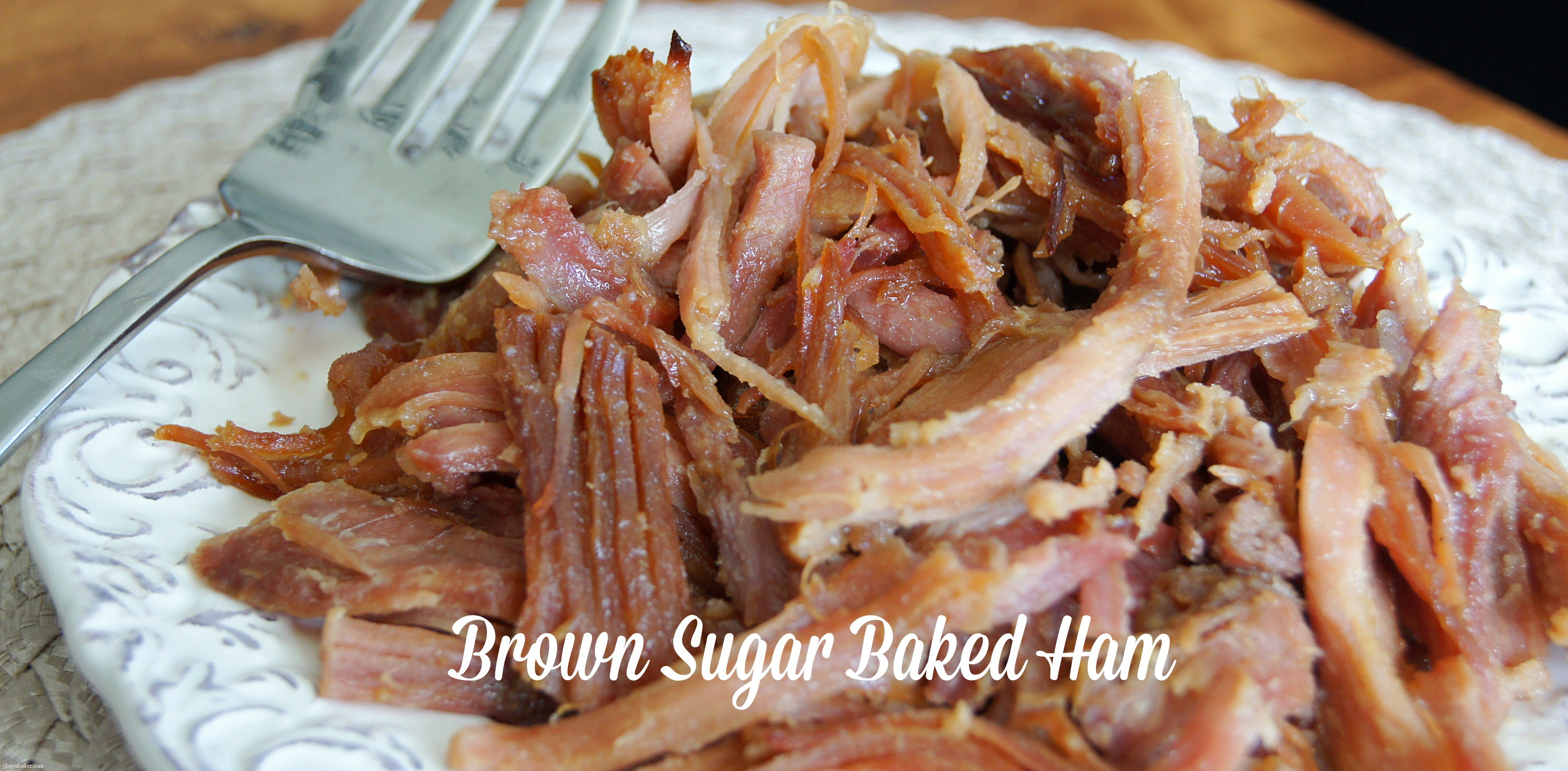 Plate of Brown Sugar Baked Ham