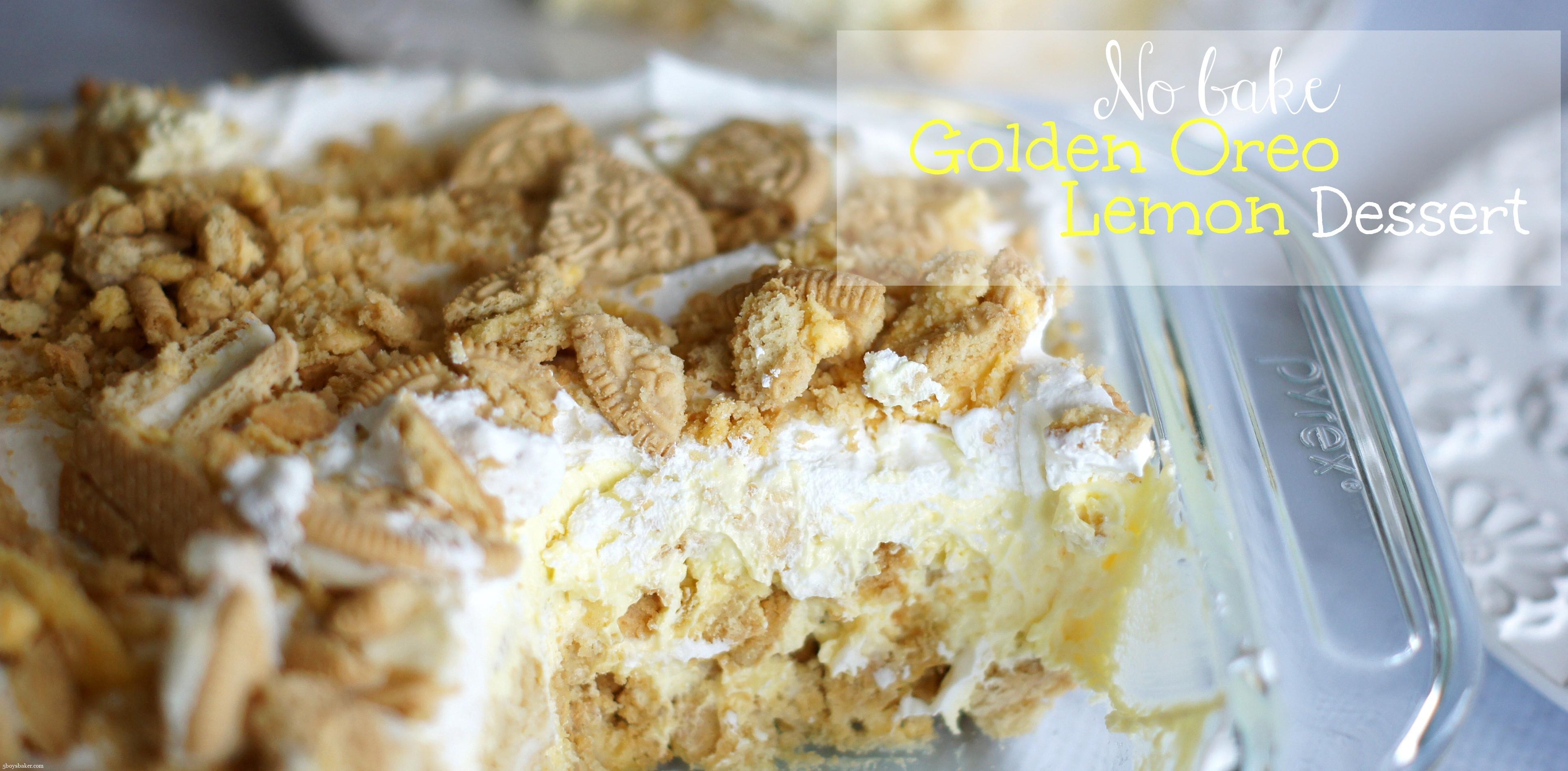 Plate of No Bake Golden Oreo Lemon Dessert