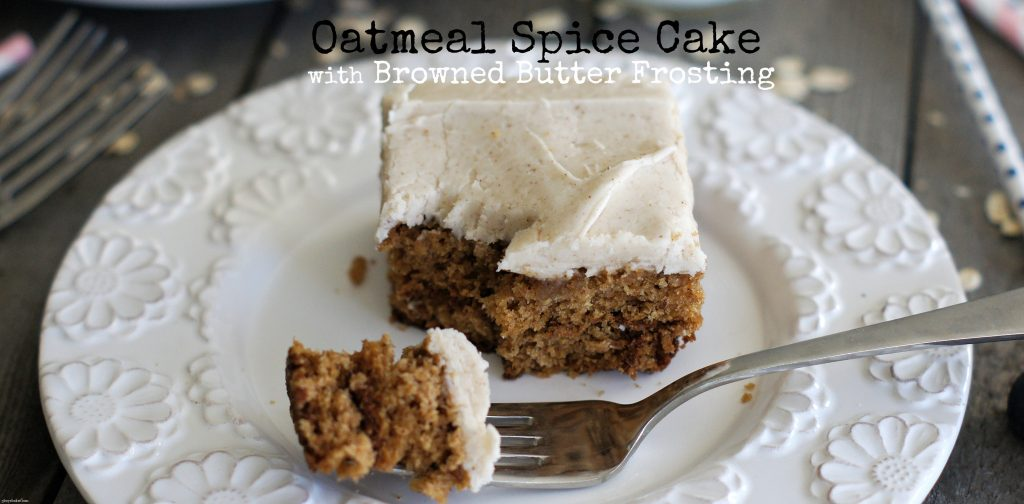 oatmeal spice cake with browned butter frosting