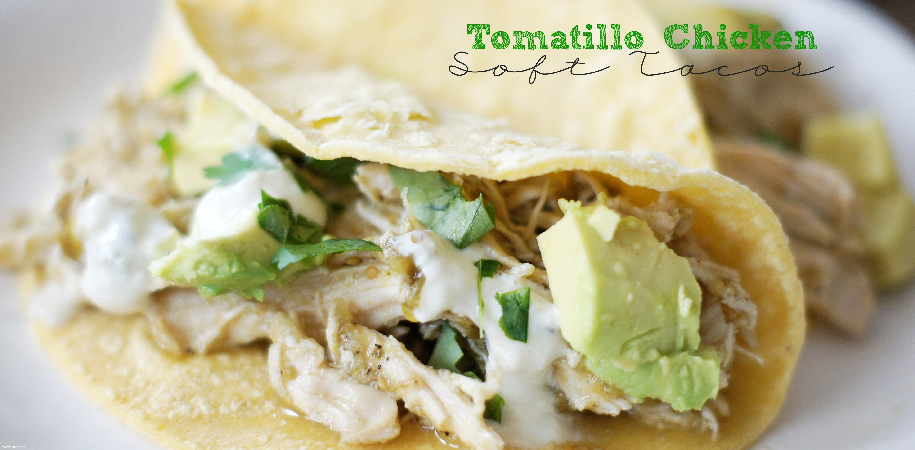 Tomatillo Chicken Soft Tacos {Slow Cooker}..