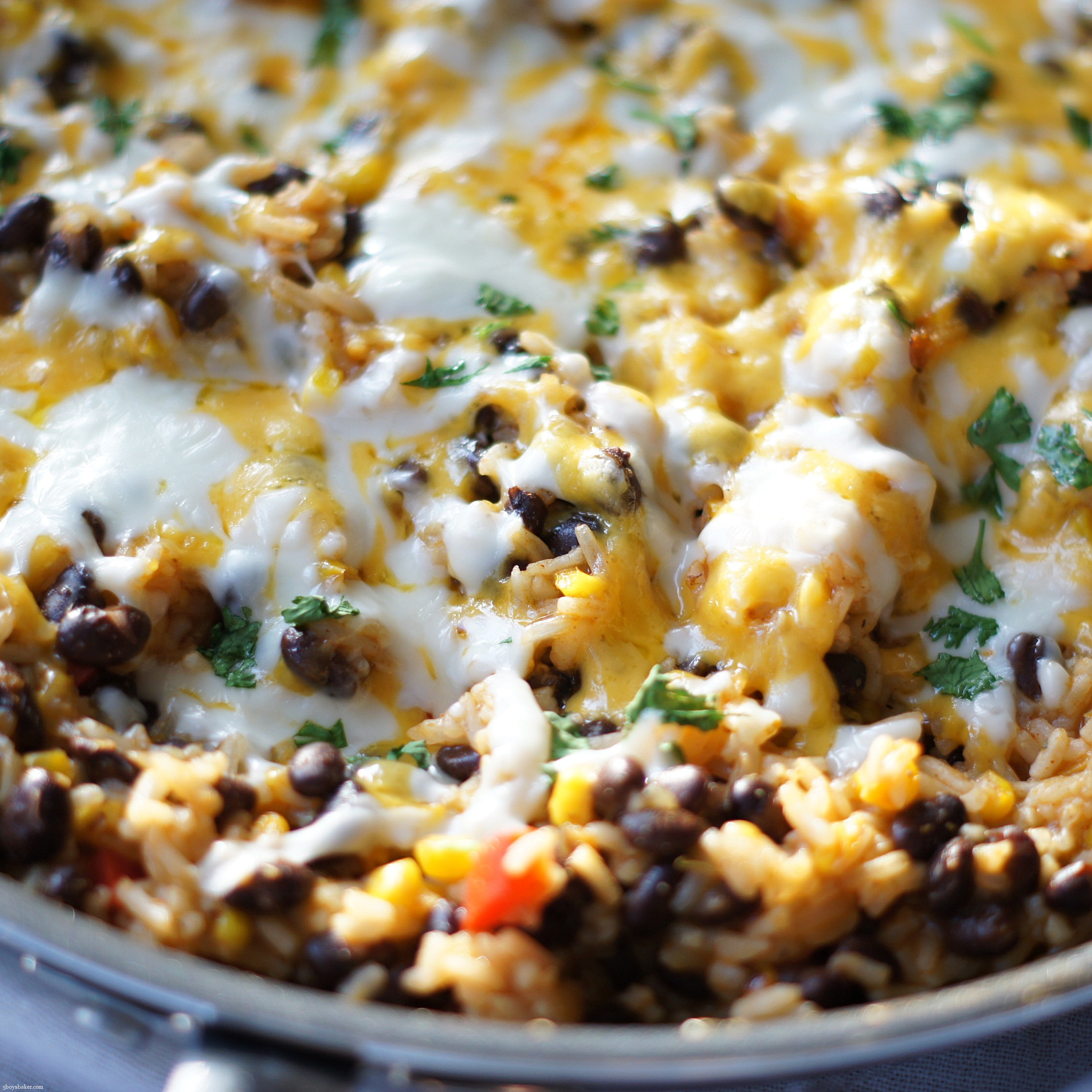 Skillet of Cheesy Enchilada Rice SKillet