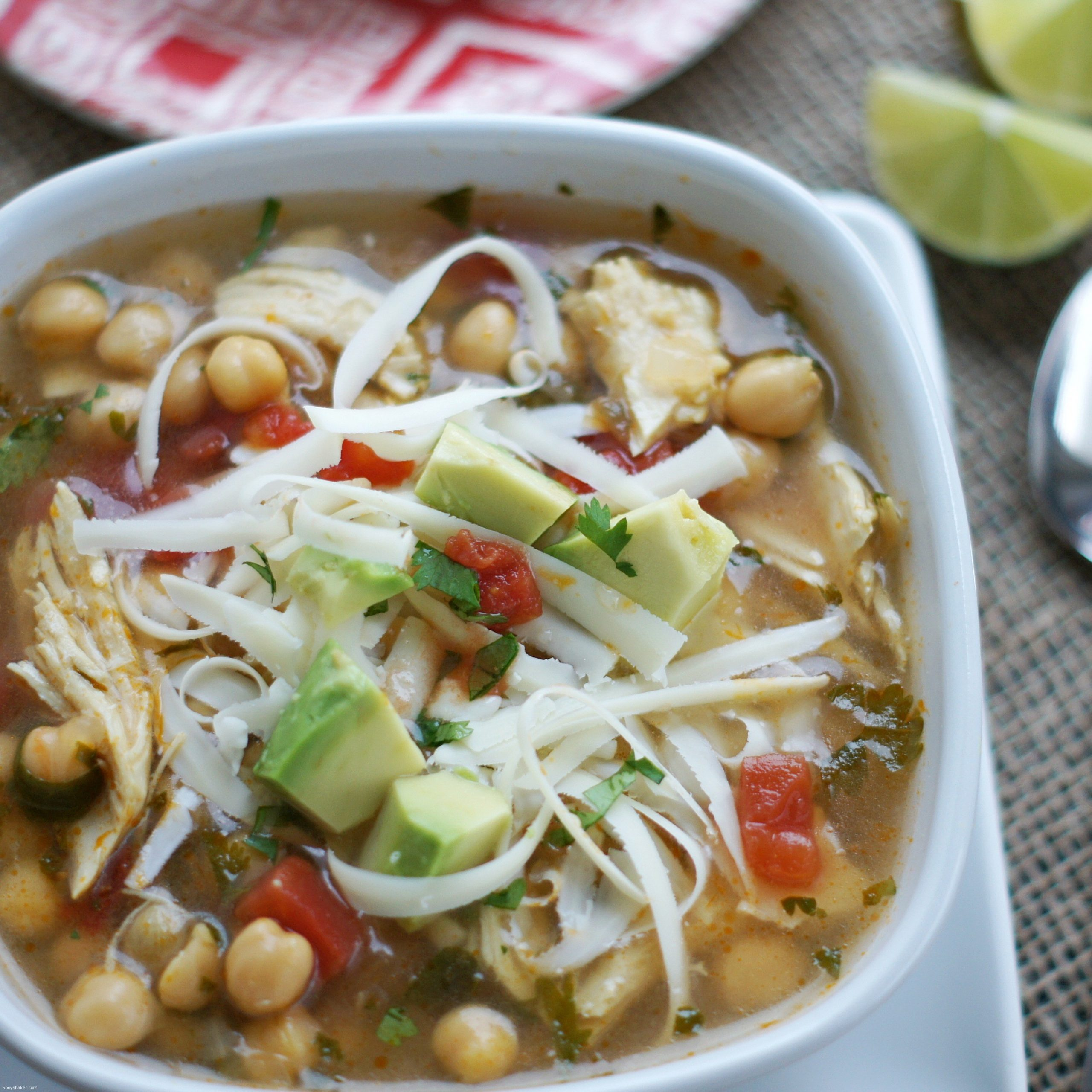 bowl of slow cooker chipotle chicken and chickpea soup