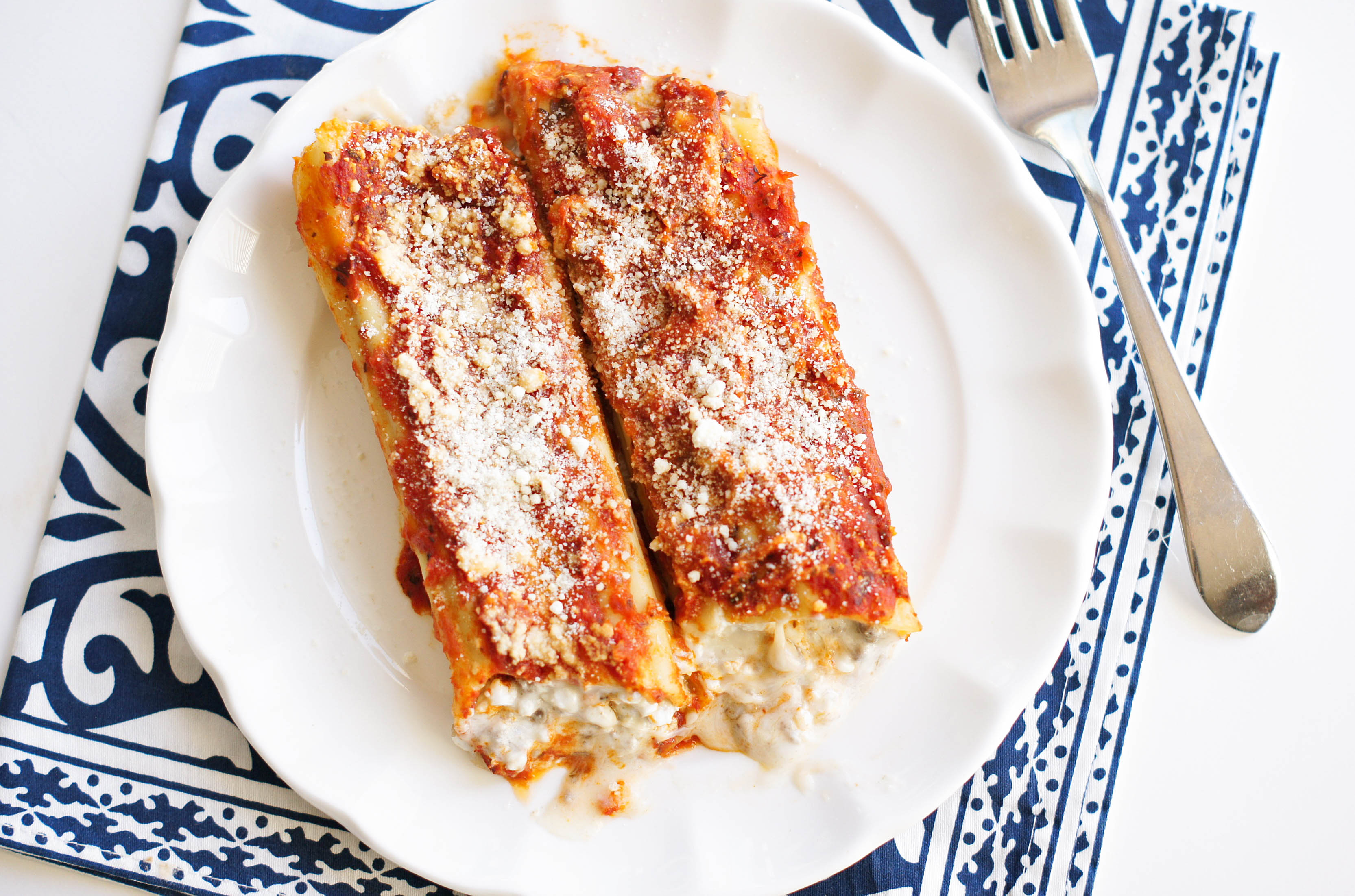 Manicotti on a plate