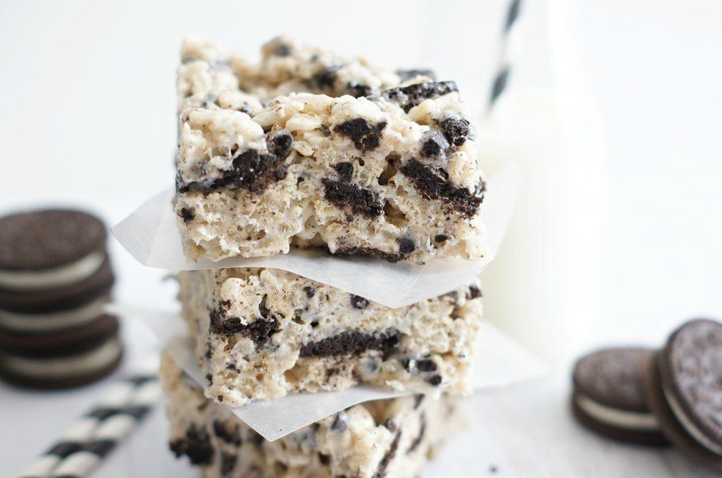 cookie 'n' cream rice krispie treats