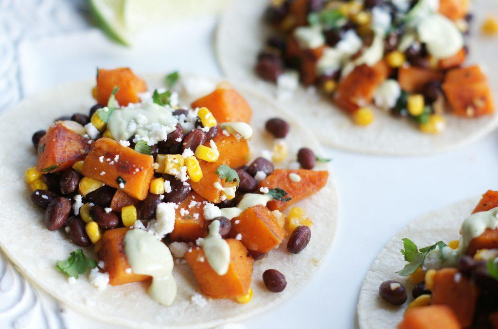 honey lime sweet potato & black bean tacos on flour tortilla
