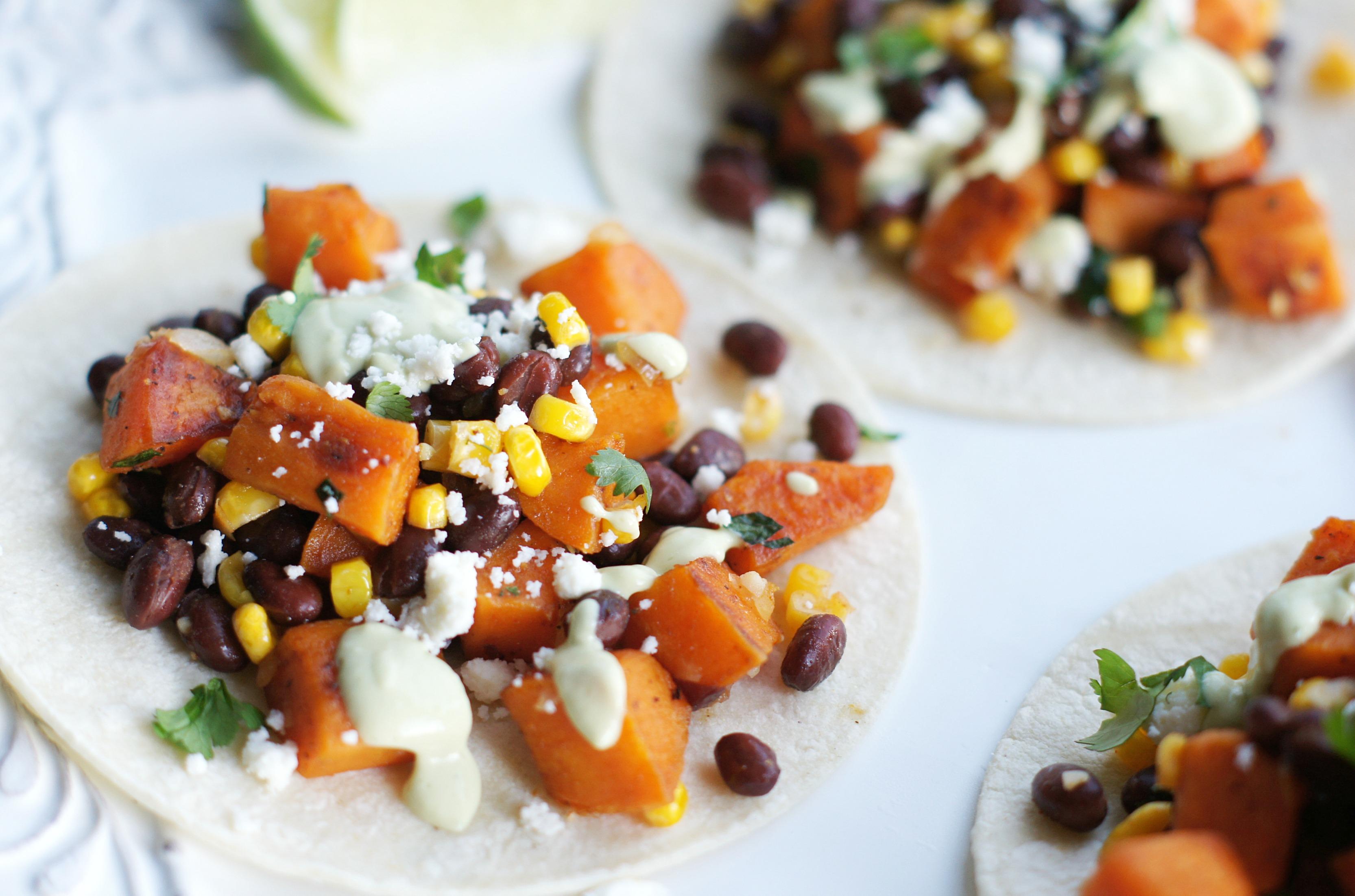 honey-lime sweet potato & black bean tacos