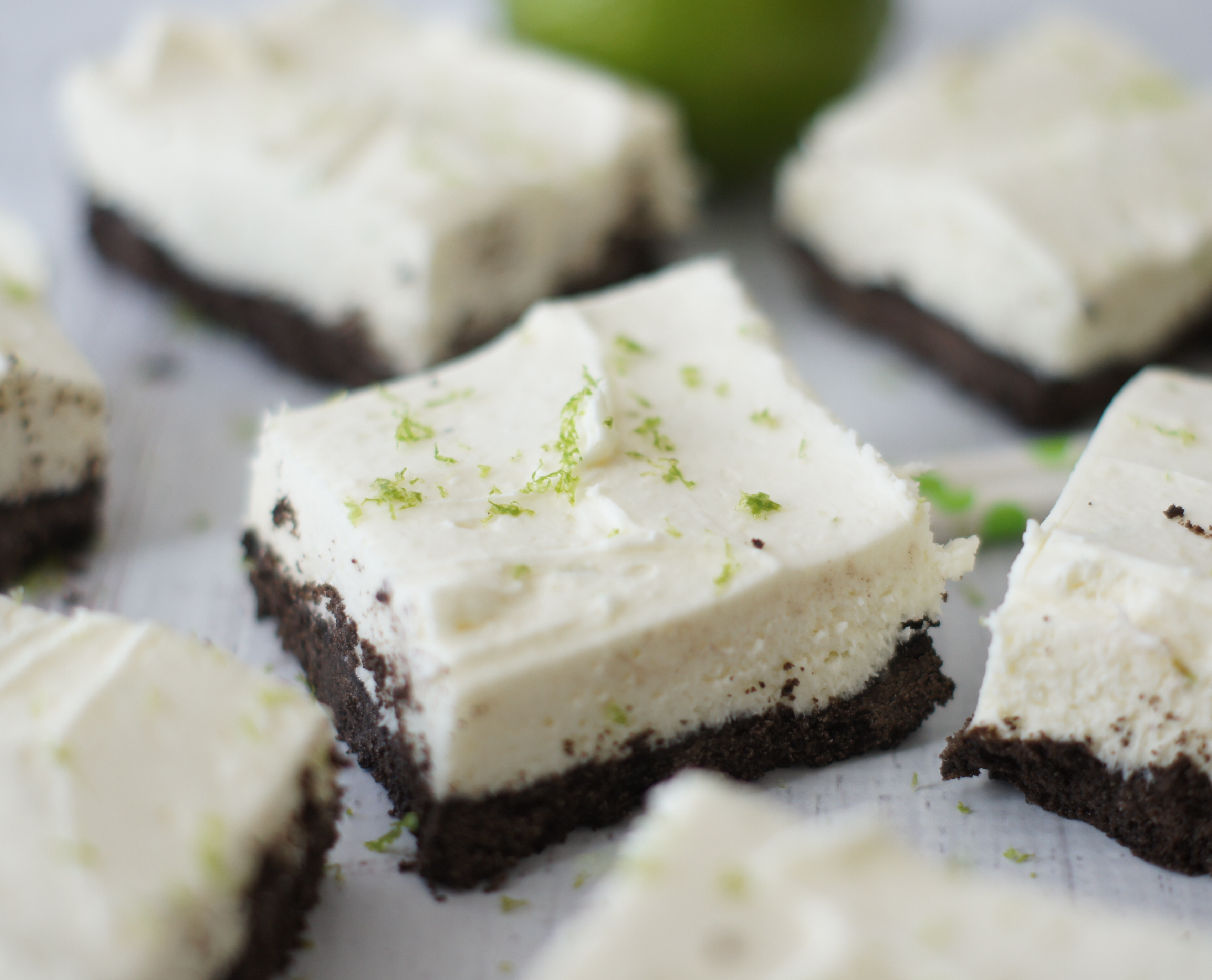 white chocolate & lime cheesecake bars