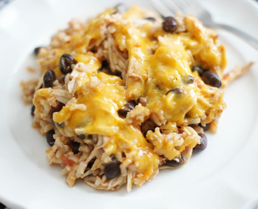 cheesey chicken enchilada rice bake