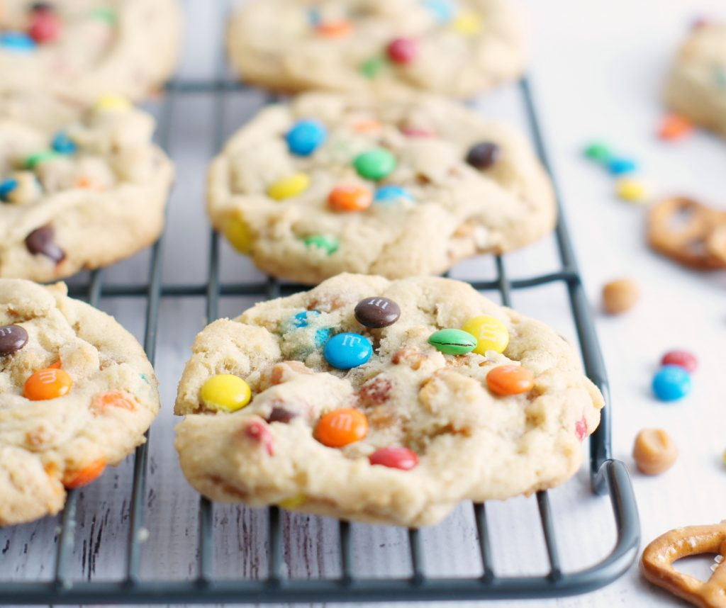 M&M caramel pretzel cookies