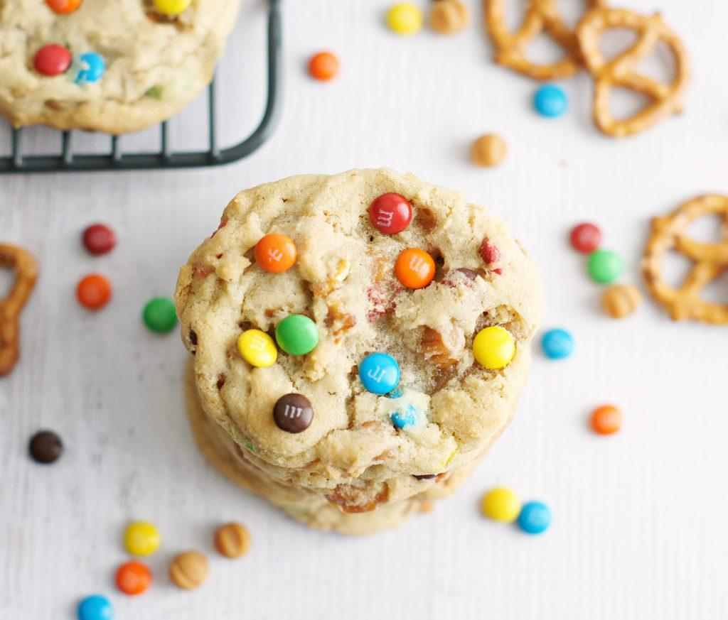 M&M caramel pretzel cookies
