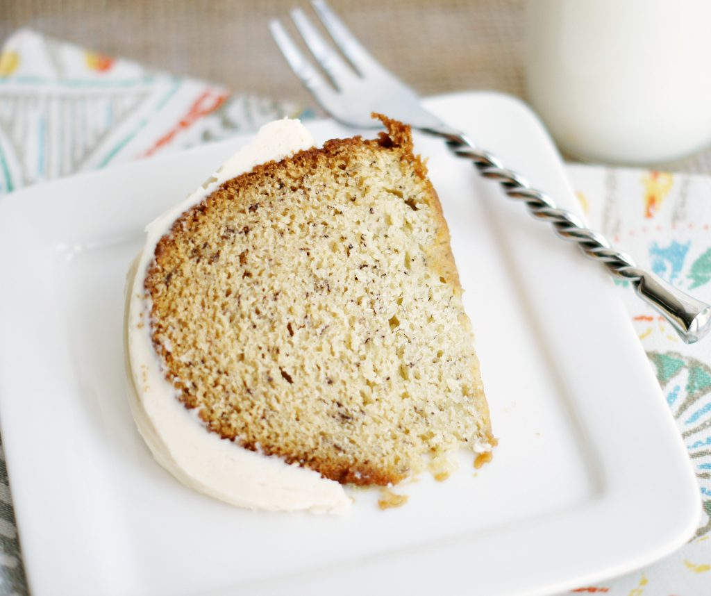 banana bundt cake with browned butter frosting