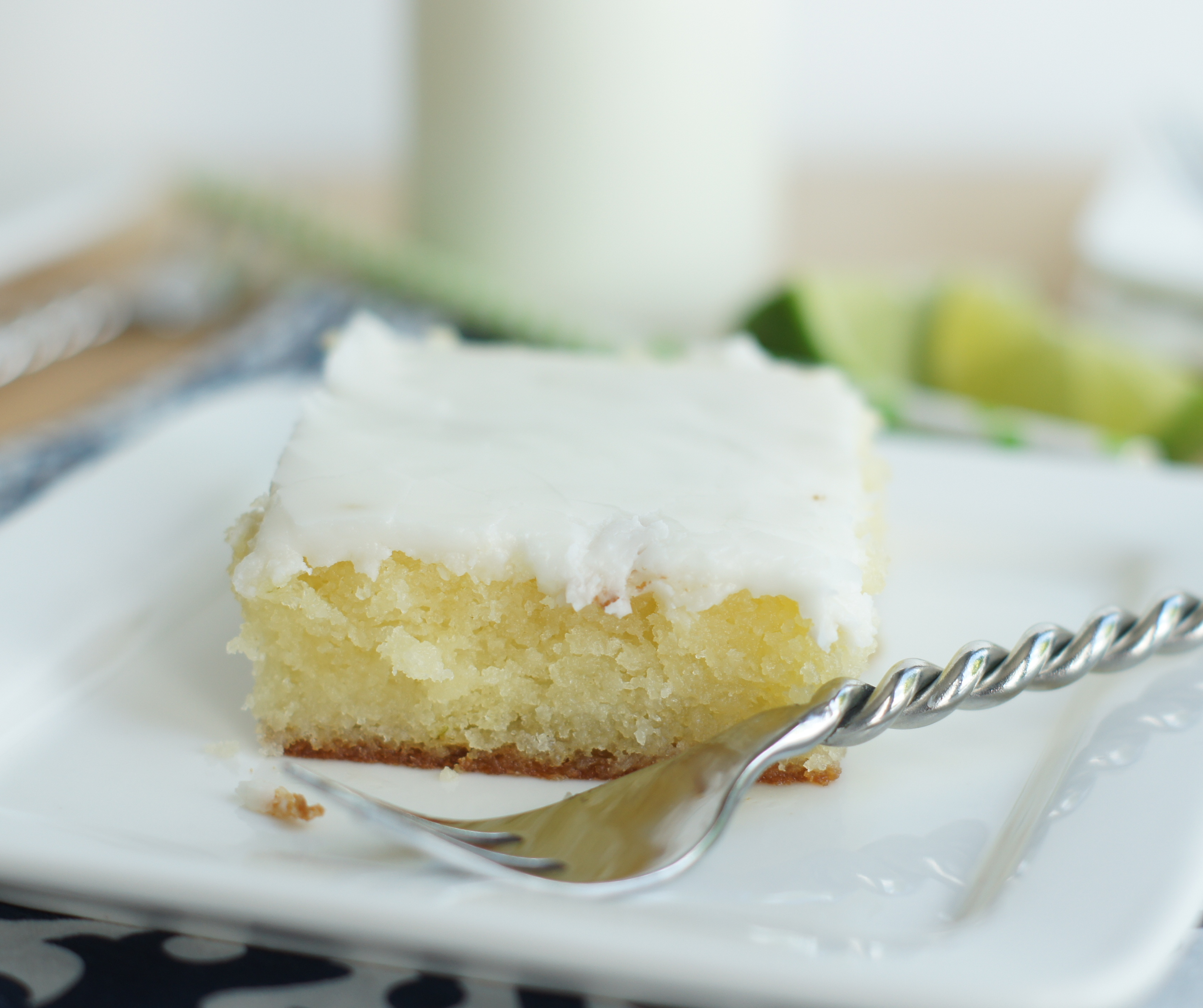 Piece of glazed lime cake on a plate