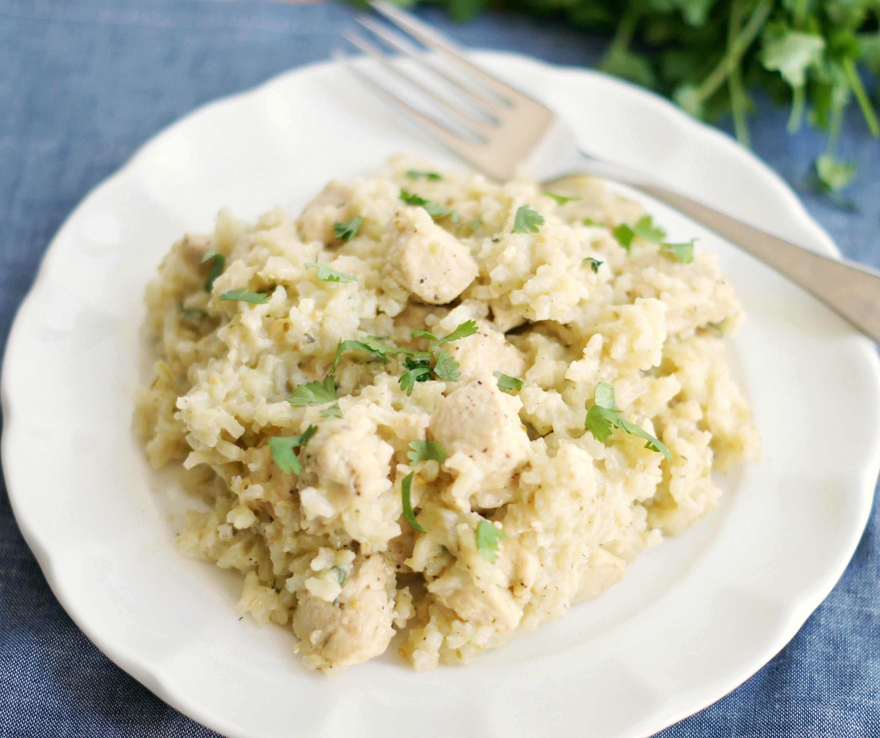 Plate of Skillet Salsa Verde Chicken & Rice