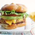 A Cheddar Ranch Chicken Burger on a plate