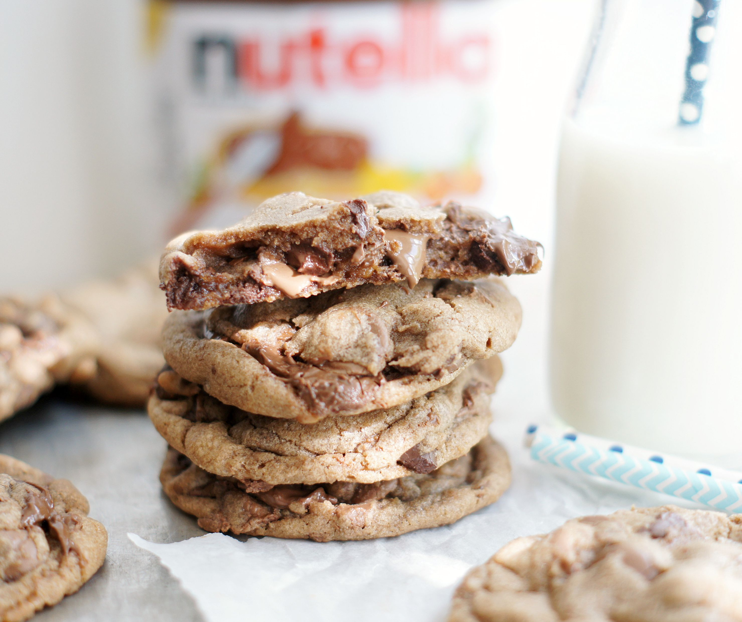 Chocolate Chip Toffee Nutella Cookies - 5BoysBaker