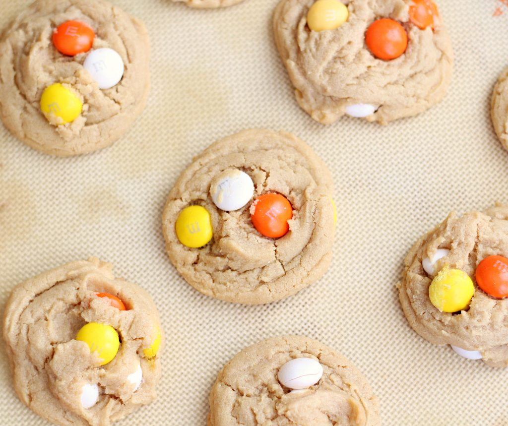 Peanut Butter White Chocolate M&M Cookies