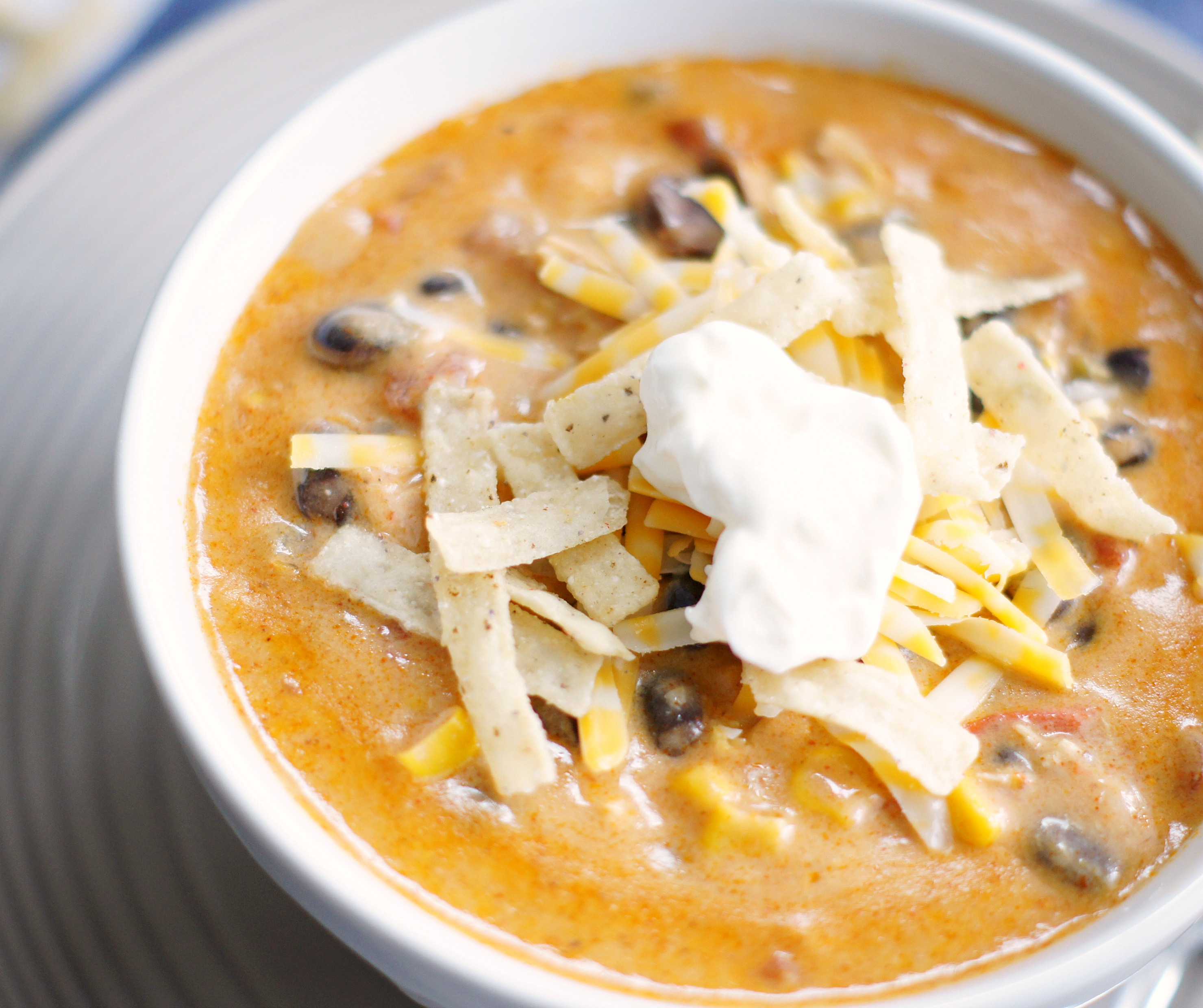 A bowl of Chicken Enchilada Chili (Zupas Copycat)