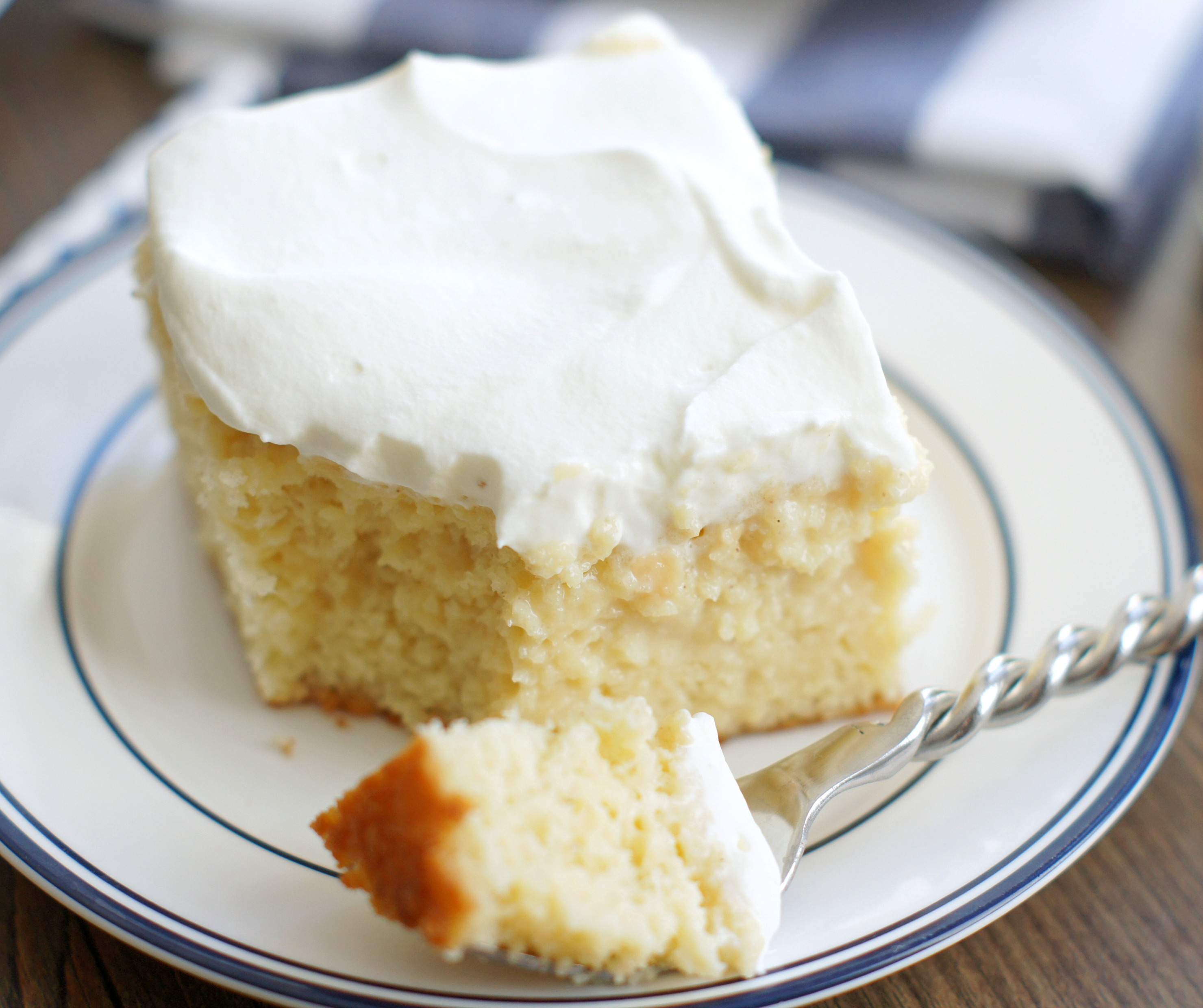 A piece of tres leches cake