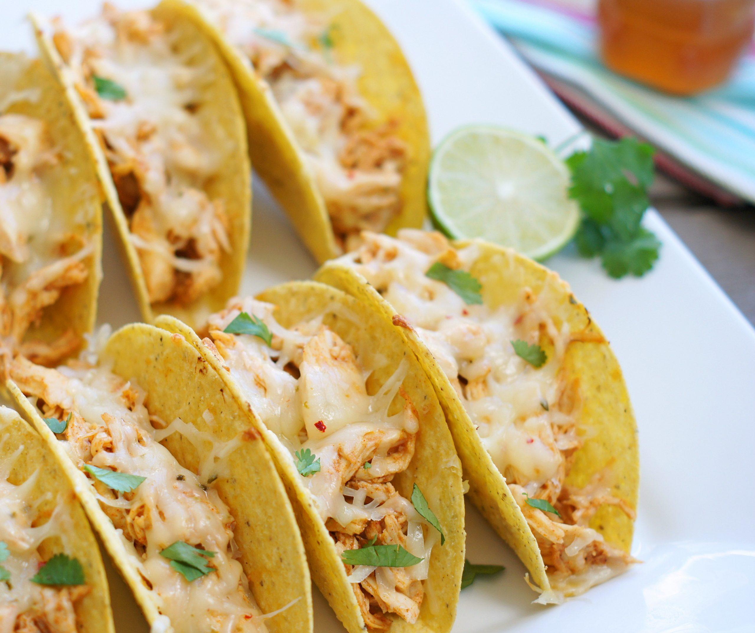 platter of baked honey lime chicken tacos