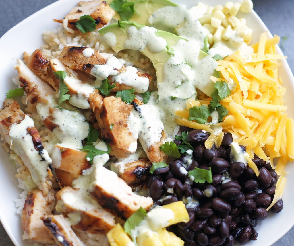 honey lime chicken burrito bowls