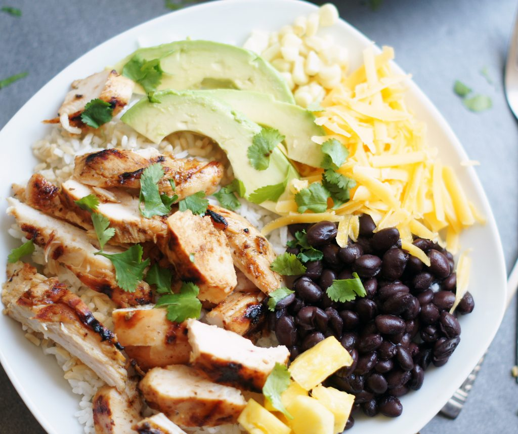 honey-lime chicken burrito bowls