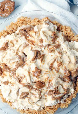 Overhead shot of Rice Krispie Ice Cream Pie