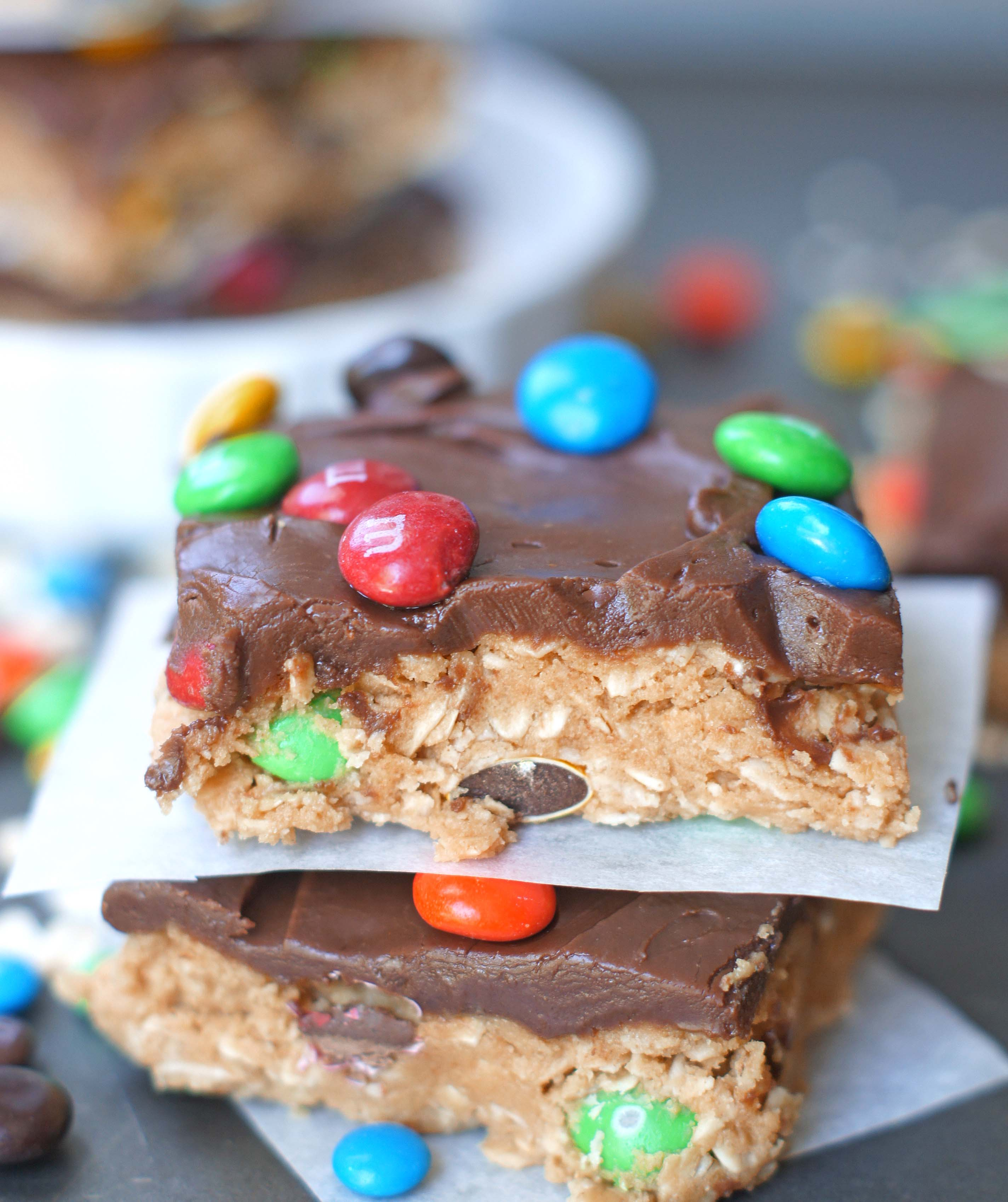 Monster Cookie No-Bake Bars