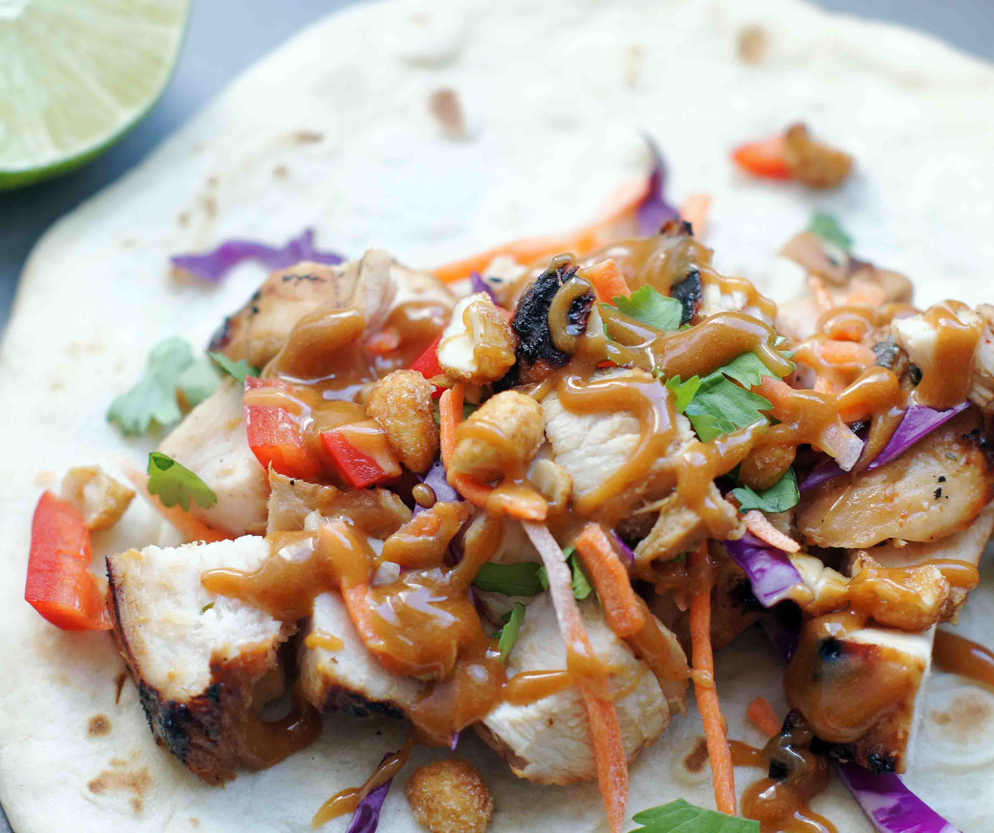 Thai Chicken Tacos with Peanut Sauce - 5BoysBaker