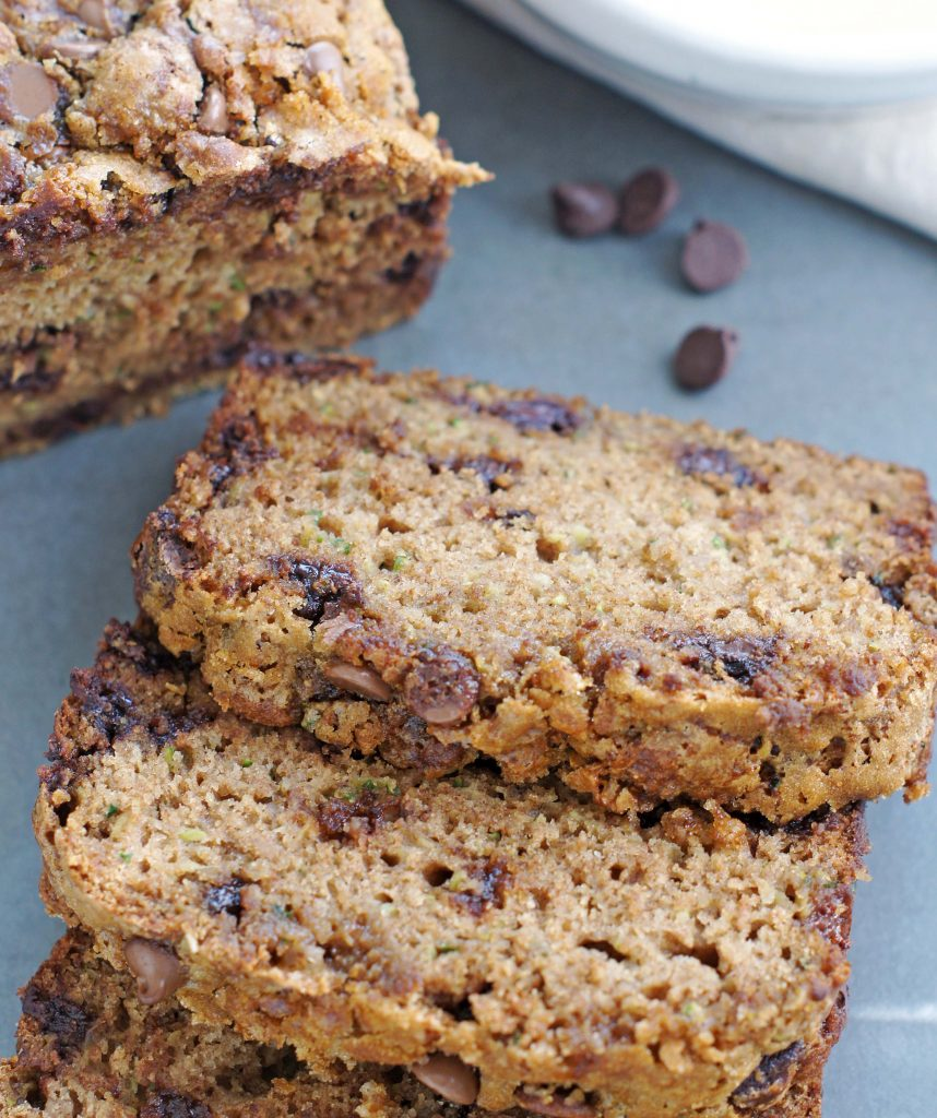 Low Fat Zucchini chocolate chip bread
