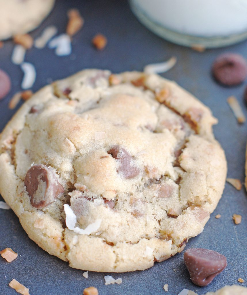 Toasted Coconut Toffee Chocolate Chip Cookies