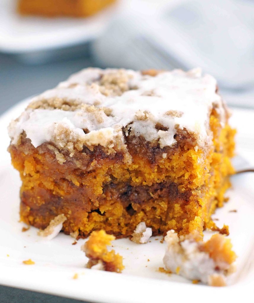 cinnamon swirled pumpkin coffee cake
