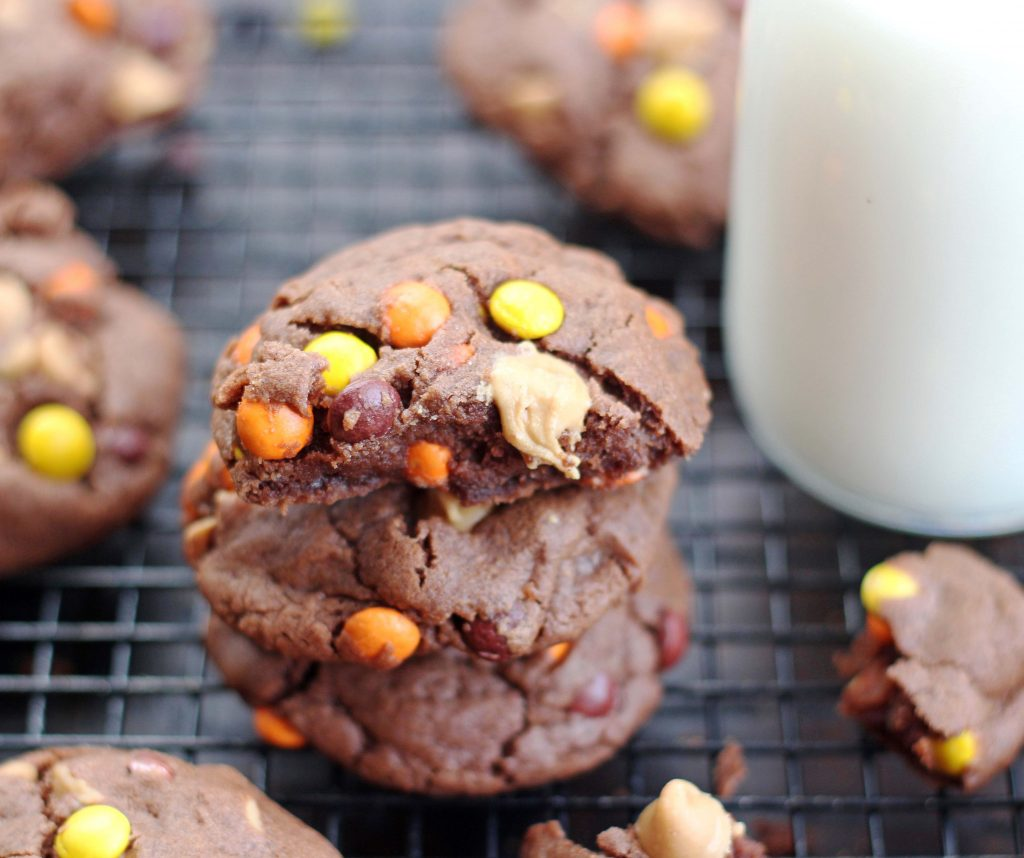 Chocolate Reese's Pieces Peanut Butter Cookies 1