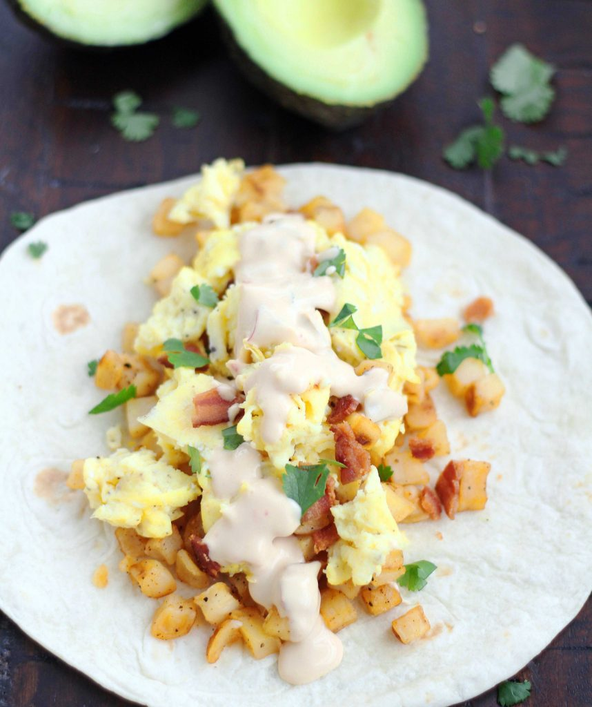 bacon & queso breakfast tacos 2