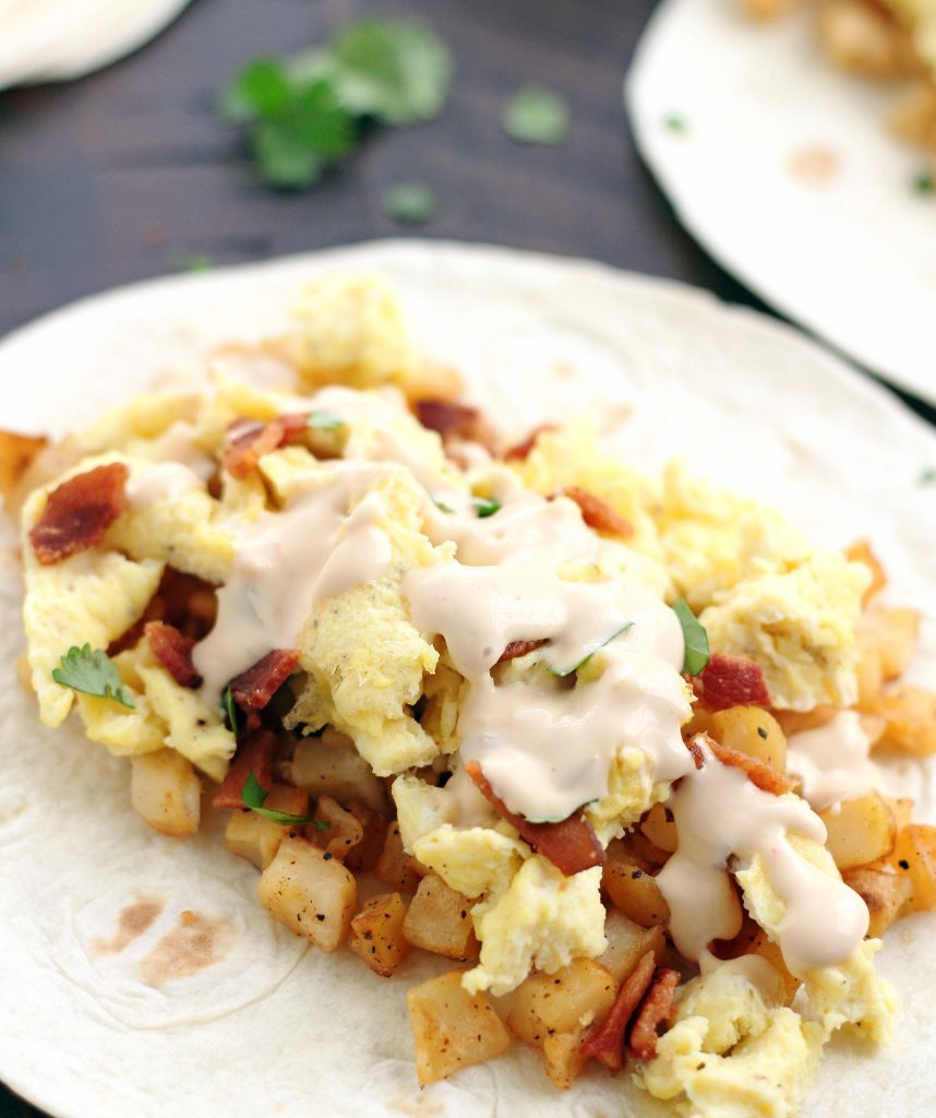 bacon & queso breakfast tacos