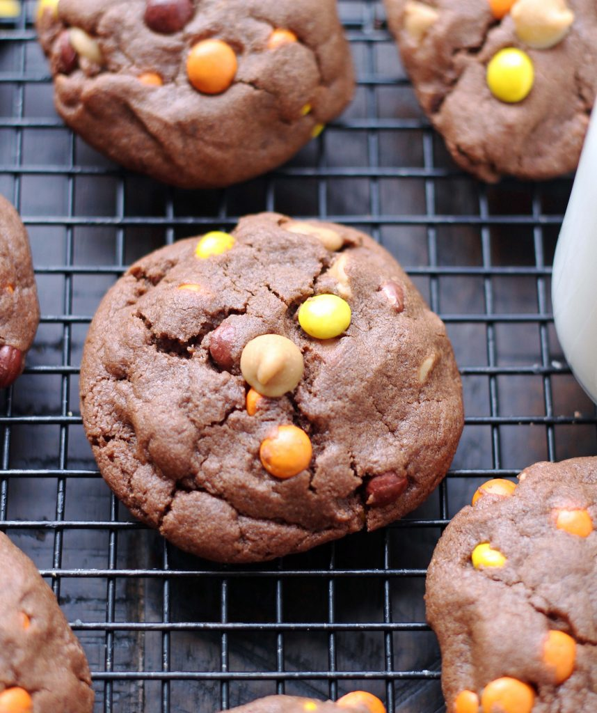 chocolate Peanut Butter Reese's Pieces cookies