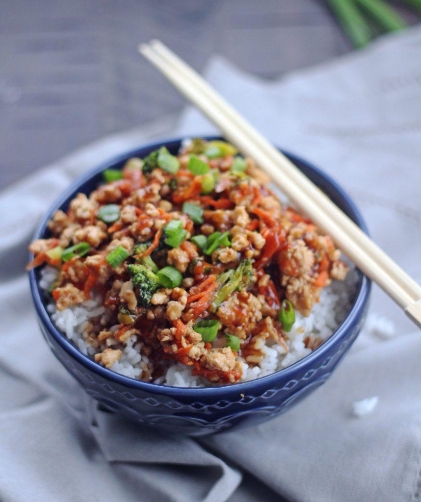 simple teriakyi rice bowl