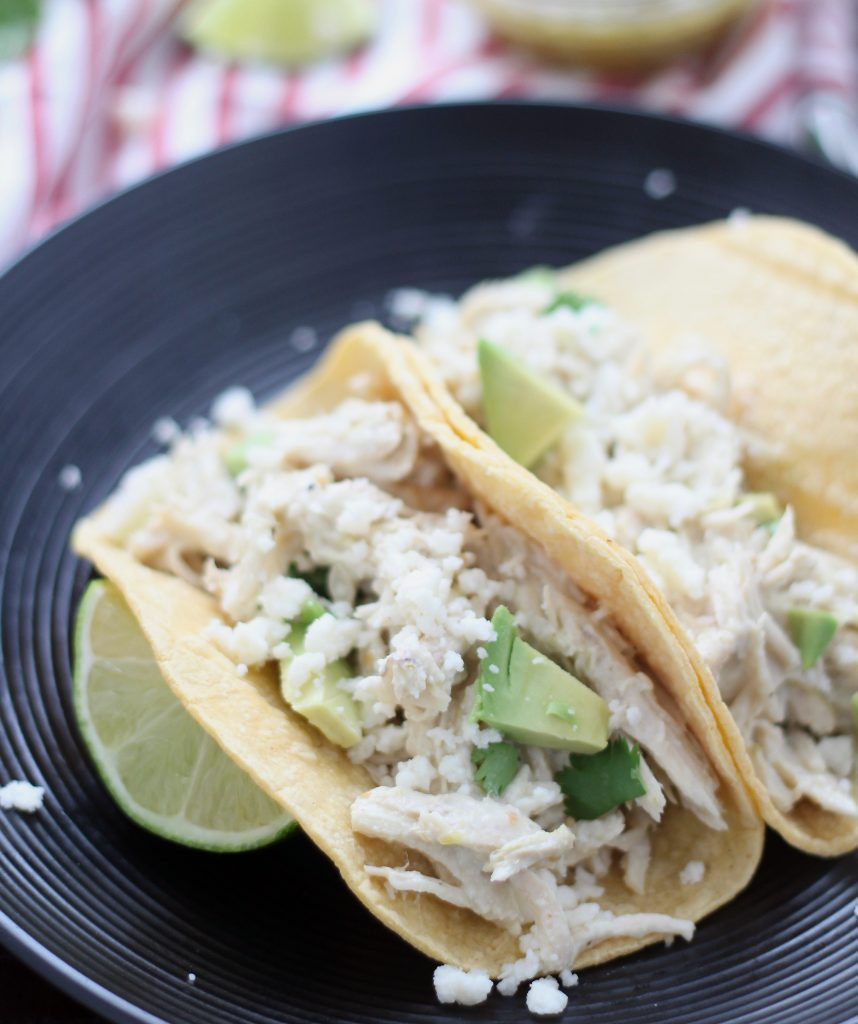 Slow cooker 3 ingredient creamy salsa verde taco chicken