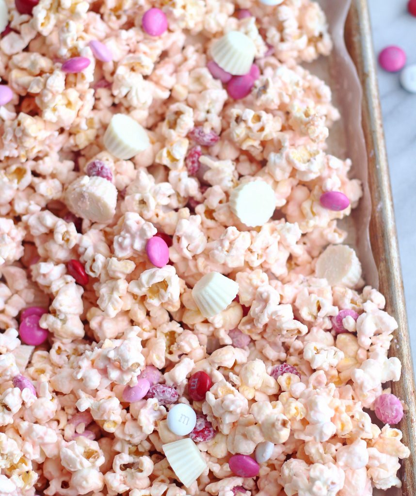 white chocolate peanut butter cup popcorn valentines