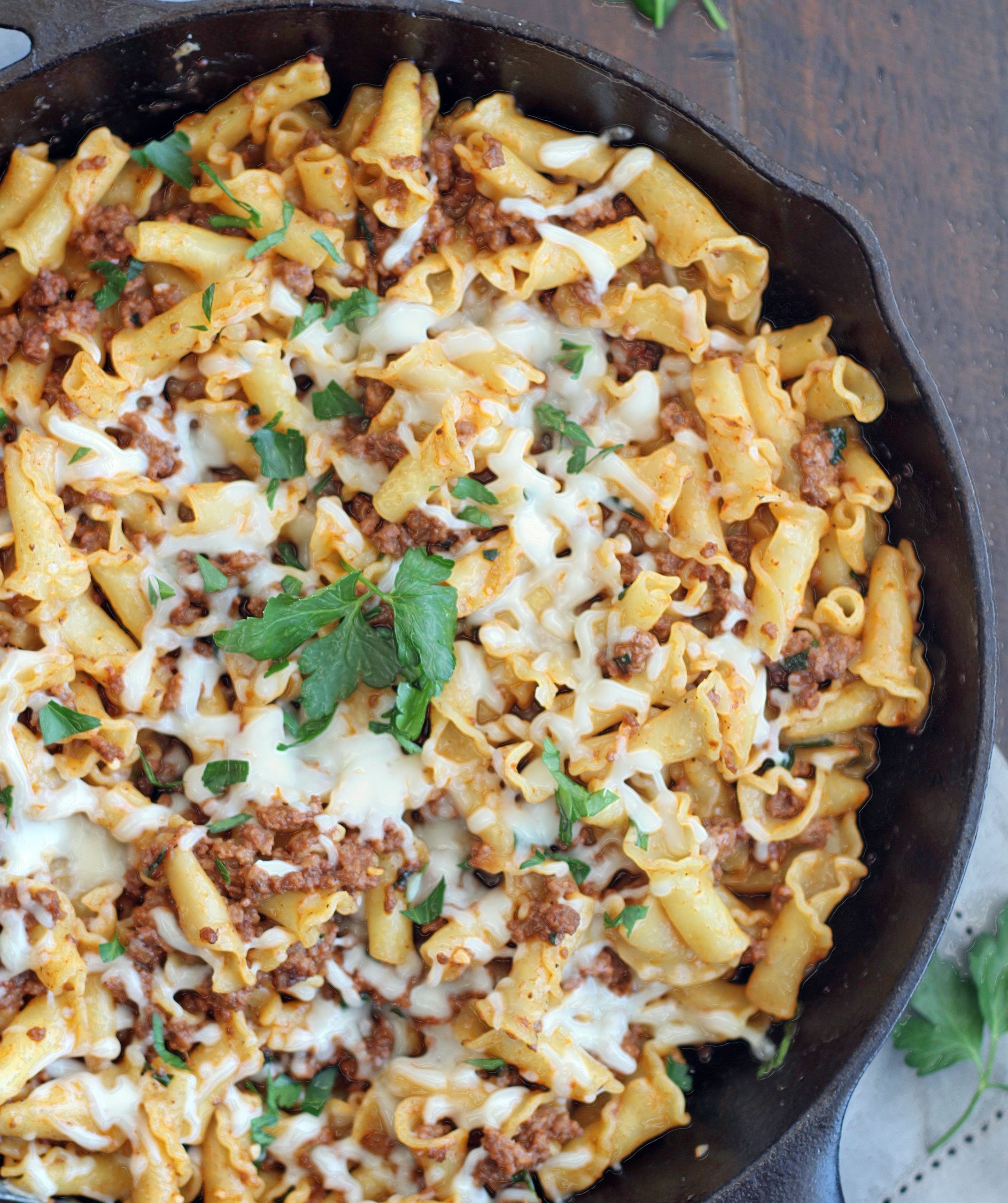 pan of 25-minute skillet meat & cheese pasta