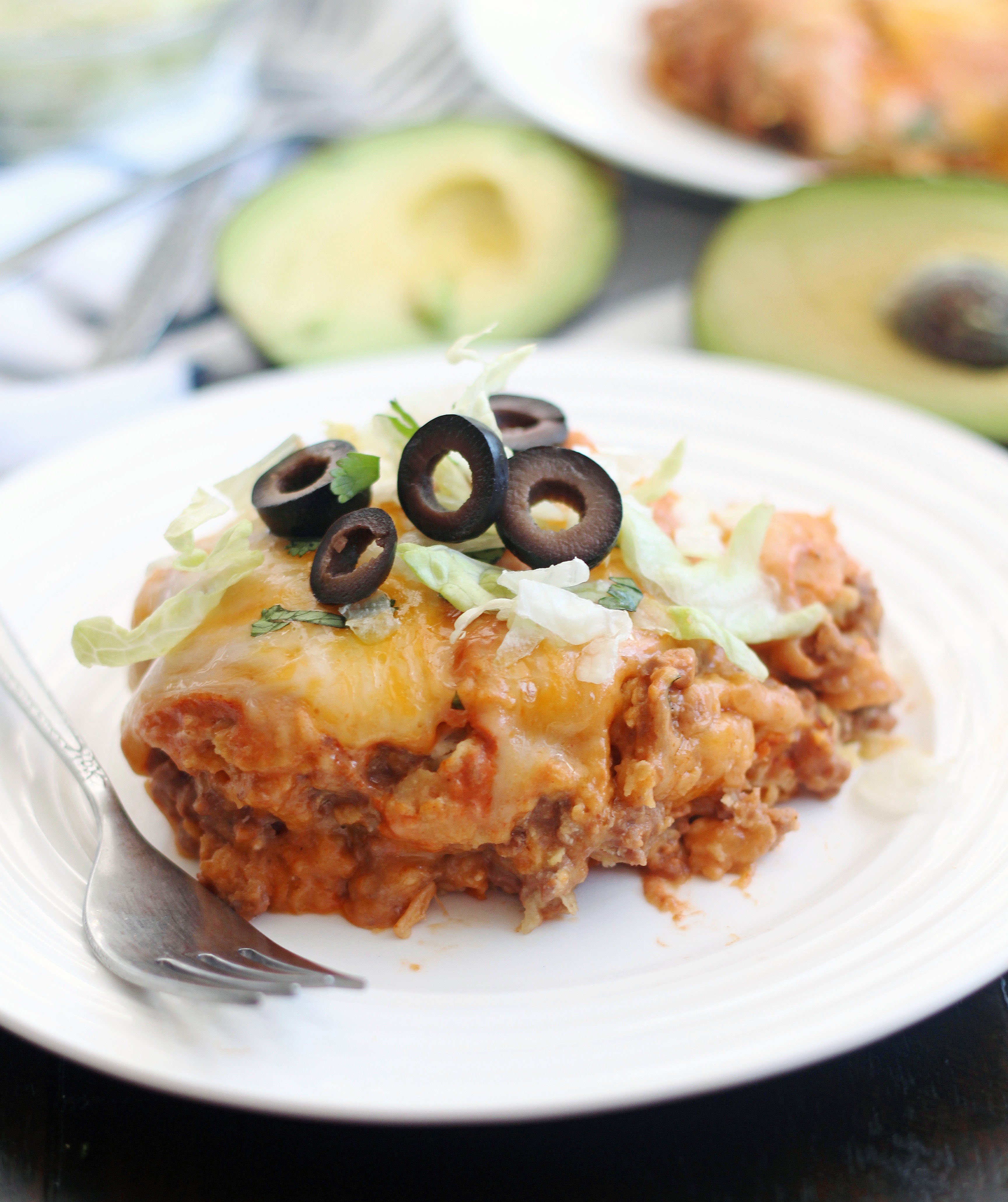 Plate of slow cooker ground beef enchilada casserole