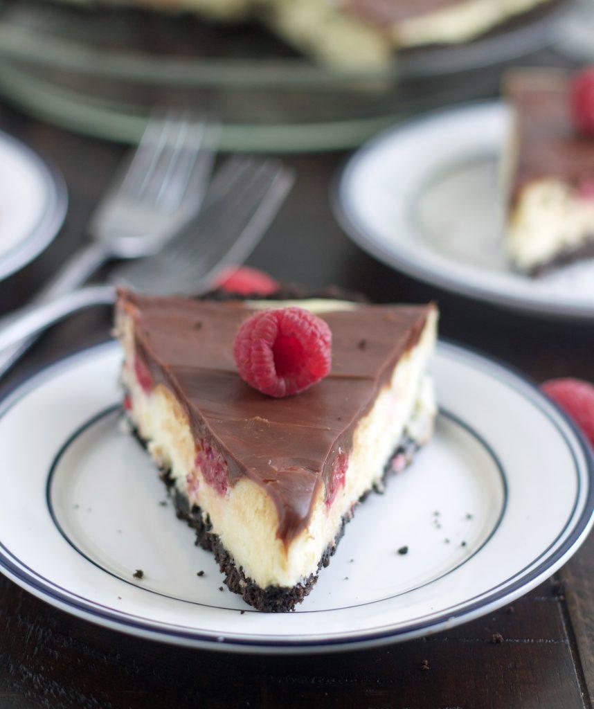 Raspberry Cream Cheese Pie with Chocolate Ganache - 5BoysBaker