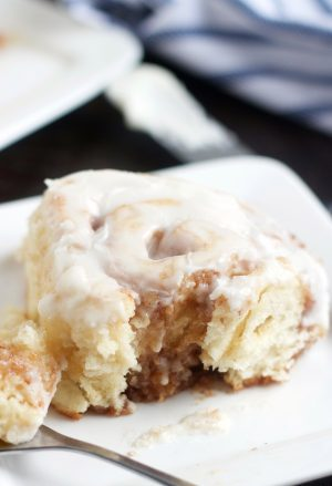 No Yeast Cinnamon Rolls on a plate