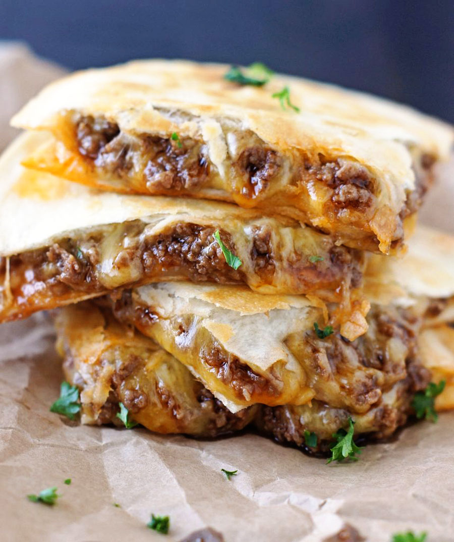 A stack of Sloppy Joe Quesadillas